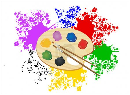 Illustration for Wooden art palette with paints and brushes - Royalty Free Image