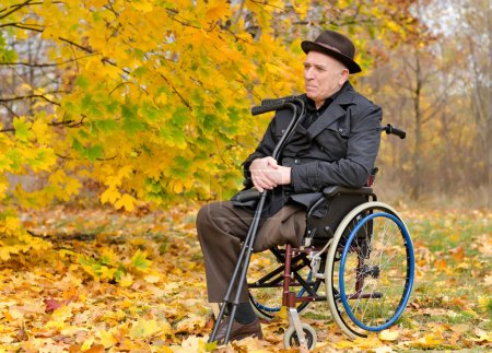 Photo for Thoughtful senior amputee sitting outdoors in his wheelchair with his crutches in his hand enjoying the last warmth of the autumn sun against a backdrop of colourful yellow leaves - Royalty Free Image
