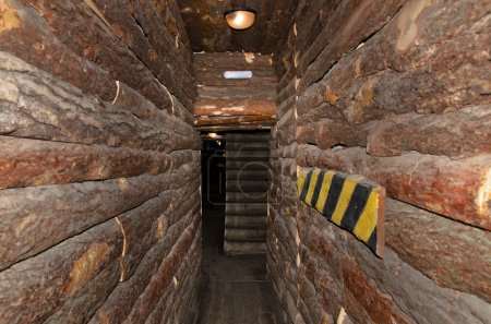 Narrow passage in a log building
