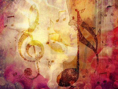 Photo for Abstract grunge, vintage music with notes background - Royalty Free Image
