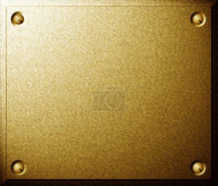 Photo pour Plaque métallique brillante en laiton avec texture de fond vis - image libre de droit