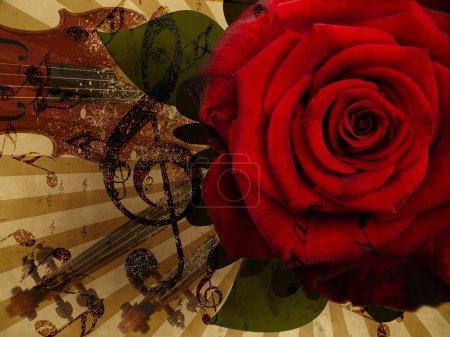 Photo pour Abstract grunge rose et notes, fond de musique vintage - image libre de droit
