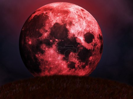 Illustration of halloween red full moon with cloud...