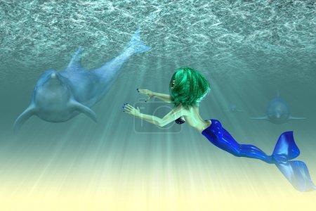 Photo pour Illustration abstraite d'une sirène avec un dauphins, scène sous-marine. - image libre de droit