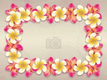 Photo pour Plumeria, frangipani fleurs cadre sur fond abstrait . - image libre de droit