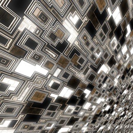Photo pour Techno fond de noirs lumineux avec effet de perspective . - image libre de droit