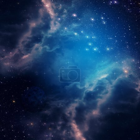 Photo for Blue space background with clouds and stars. - Royalty Free Image