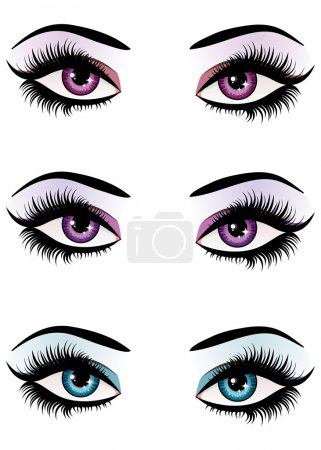 Illustration for Illustration of woman eyes with makeup of different colors. - Royalty Free Image