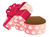 Opened empty heart shaped gift box