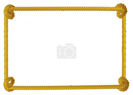 Illustration for Yellow rope frame, border on white background. - Royalty Free Image