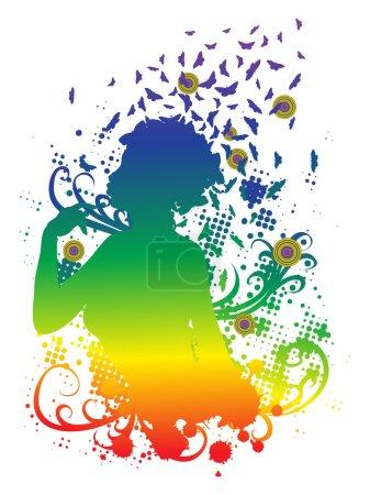 Illustration pour Illustration colorée abstraite d'un profil féminin avec des papillons . - image libre de droit