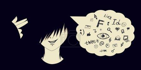 Illustration pour Emo gamin avec arme à doigt et les icônes des médias sociaux sortant de sa tête en parlant bulle . - image libre de droit