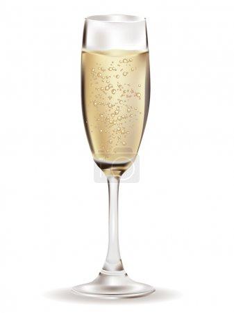 Illustration pour Verre d'illustration Champagne sur fond blanc . - image libre de droit