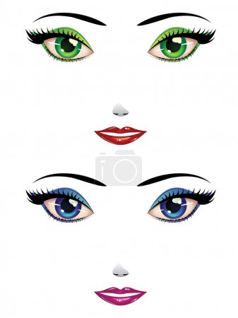 Illustration for Cartoon female faces with green and blue eyes. - Royalty Free Image