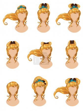 Illustration for Set of different hairstyles for long yellow hair. - Royalty Free Image
