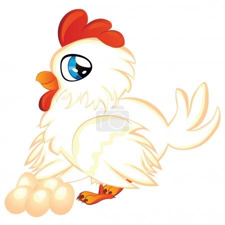Cartoon Hen with Eggs