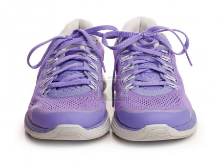 Photo for Purple female sport shoes isolated on white - Royalty Free Image