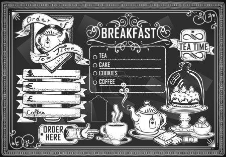 Photo pour Illustration détaillée d'un élément graphique vintage pour menu bar sur tableau noir - image libre de droit