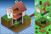 Detailed illustration of a Isometric house with bio fuel boiler in hot production