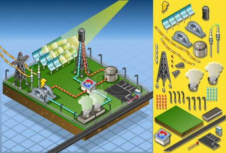Isometric termo solar plant in production of energy