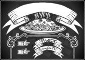 Detailed illustration of a vintage graphic element for bar menu on blackboard