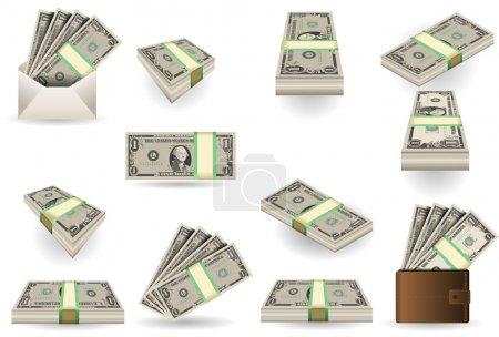 Illustration pour Illustration détaillée d'un jeu complet de billets d'un dollar - image libre de droit