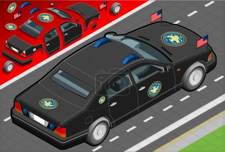 Isometric Presidential Limousine in Rear View