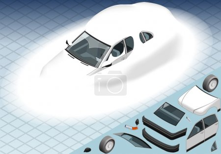 Isometric Snow Capped White Car in Front View