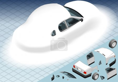 Isometric Snow Capped White Car in Rear View