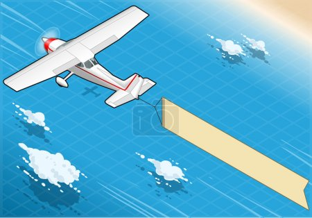Illustration for Detailed illustration of a Isometric White Plane in Flight with Aerial Banner in Rear Vie - Royalty Free Image