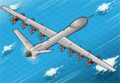 Isometric Drone Airplane Flying in Rear View