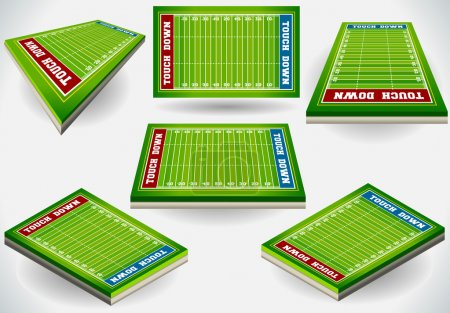 Illustration for Detailed illustration of a Set of Football Fields in Six Position - Royalty Free Image