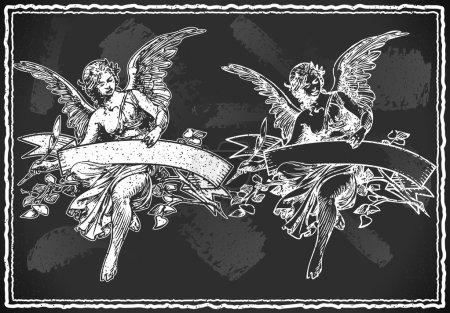 Illustration pour Illustration détaillée d'un ange tenant une bannière sur vintage blackboar - image libre de droit