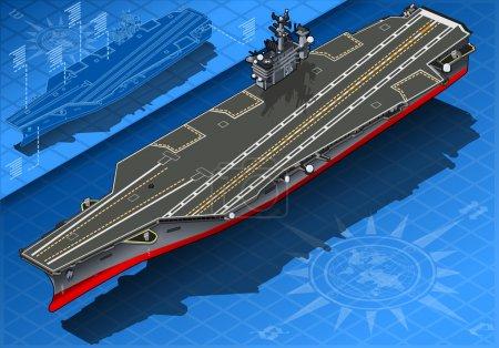 Illustration pour Illustration détaillée d'un porte-avions isométrique à Front Vie - image libre de droit