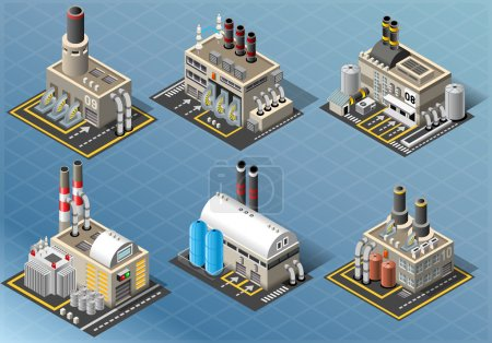 Illustration for Detailed illustration of a Isometric Set of Energy Industries Building - Royalty Free Image