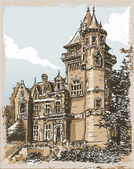 Detailed Illustration of a Vintage Hand Drawn View of Old Castle in Belgiu