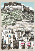 Vintage View of Castle and Palaces in Naples Italy