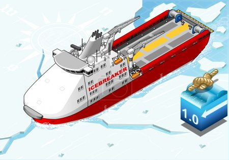Isometric Icebreaker Ship Breaking the