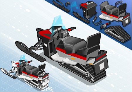 Isometric Snowmobile in Rear View