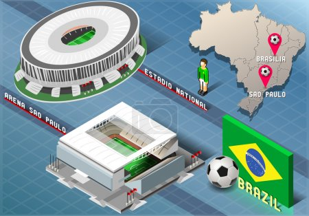 Isometric Stadium of Brasilia and Sao Paulo, Brazil