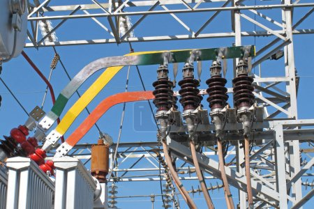 Copper bars and insulators of electricity transformers in a elec