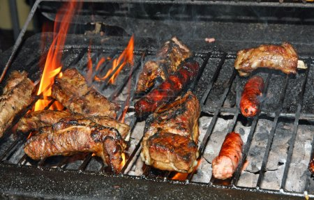 Grilled pork during a barbecue