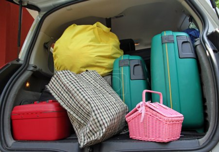 Two green suitcase and a pink trash bag in the trunk of the fami