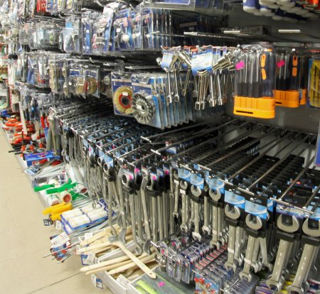 Tools in a hardware store very provided