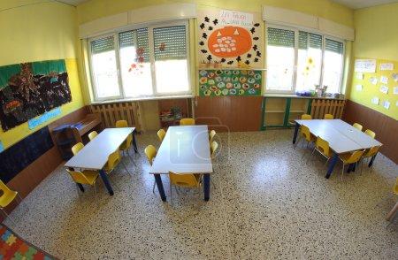kindergarten class with fisheye lens