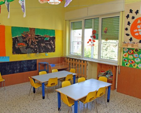 Classroom where children learn to draw in a nursery