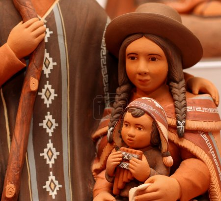 Mary and baby Jesus in bolivia terracotta statues ...
