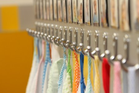 Hooks with colorful towels nursery children