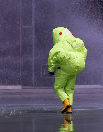 man with the jumpsuit for the biohazard during a chemical warfar