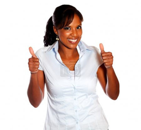 Positive young female lifting the fingers up